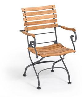 WEISHÄUPL Classic Sessel geschwungene Latten - Graphitgrau und Teakholz