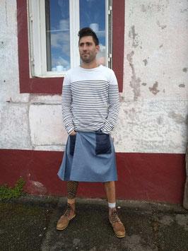 Kilt en jean, poches jean inversé