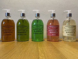 Vloeibare Marseille zeep, set met 2 pompjes (500 ml per stuk)