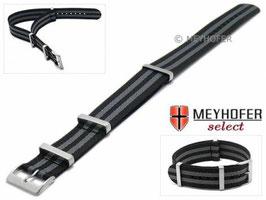 MEYHOFER NATO-Band / Durchzugsband schwarz / grau 22 mm