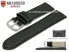 MEYHOFER Echtlederarmband schwarz mit Rundanstoß 22 mm
