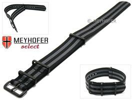 MEYHOFER NATO-Band / Durchzugsband schwarz / grau / schwarz 22 mm