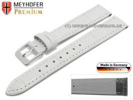 MEYHOFER Echtlederarmband weiß 15 mm Alligator-Prägung