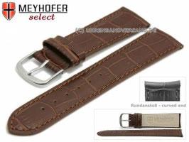 MEYHOFER Echtlederarmband braun mit Rundanstoß 22 mm