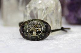 Baumwoll-Armband (oval) – Antiksilberner Lebensbaum mit Blattgold, einem Edelsteinrand aus Rhyolith und Rubin Zoisit mit Grundkristallen und lilaner Leuchtschicht auf gehärtetem Stahl und Zink