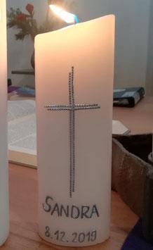 Tauf-/Konfi-/Kommunions-Kerze Perlenkreuz