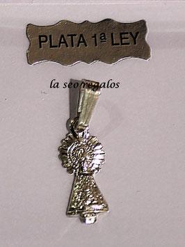 MEDALLA DE LA VIRGEN DEL PILAR CON MANTO EN PLATA DE LEY