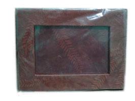 Cadre 3 photos en papier fait main, brun