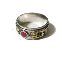 Bagues Mandala,pierre rouge