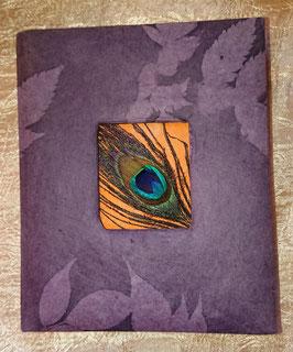 Bloc note violet, déco plume de paon