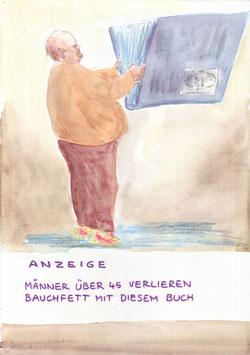 Fitnessbuch - Format A4  - Buntstift & Wasserfarben auf Aquarellpapier