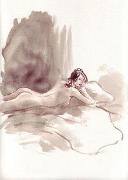 Auf dem Bett - A4 - Tusche auf Aquarellpapier