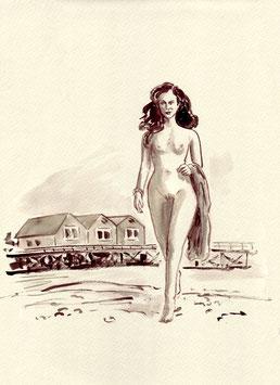 Am Strand - A4 - Tusche auf Aquarellpapier