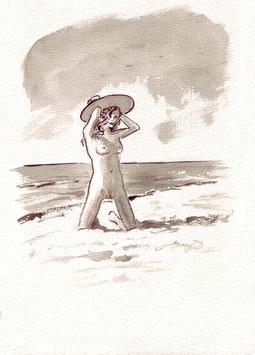 Strandschönheit - A4 - Tusche auf Aquarellpapier