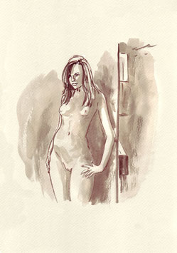 Model - A4 - Tusche auf Aquarellpapier