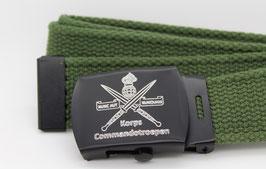 Tropenkoppel groen met gegraveerde zwarte Korps Commandotroepen gesp (nieuw)