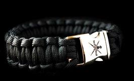 Korps Commandotroepen paracord met gelaserd KCT logo op clipsluiting - zwart
