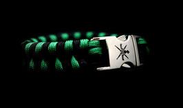 Korps Commandotroepen paracord zwart groen gevlochten met gelaserd KCT logo op clipsluiting