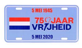 Nummerplaat 75 jaar vrijheid 4-5 Mei 1945 - 2020