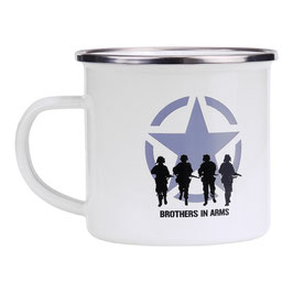 Emaille mok Brothers in Arms - wit