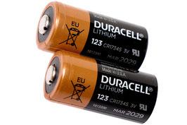 Duracell CR123A batterij, 2 stuks