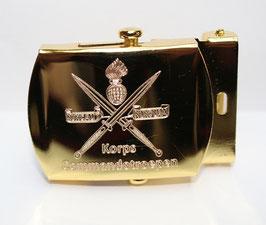 Korps Commandotroepen gesp goudkleurig gegraveerd