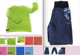 Langarmshirt UNI mit Jeans Eulenfamilie