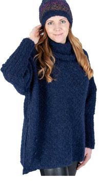 CAMPONESA, Pullover-Tunika, Alpaka 100% und Alpaka- Boucle, Farbe blau, Größe M