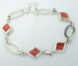 Armband mit Spondilus in 950 Silber gefasst,  20 cm  /Bracelet with heart-shaped spondilus set in 950 silver 950, 20 cm