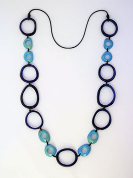 "Tagua-Kette ""Calima"" blau/ Tagua Necklace ""Calima"" blue"