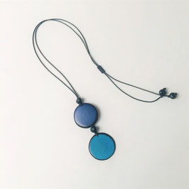 "Tagua-Kette ""Kira"" blau-hellblau/ Tagua Necklace ""Kira"" blue-lightblue"