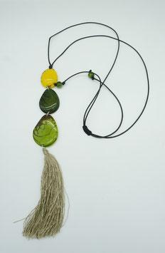 Tagua-Kette Amaru gelb-grün/ Tagua Necklace Amaru yellow-green