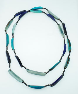 "Tagua-Kette ""Astrid long"" blau/ Tagua Necklace ""Astrid long"" blue"