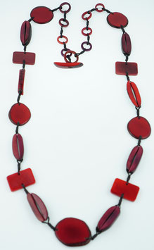 "Tagua-Kette ""Helena long"" rot/  Tagua Necklace ""Helena long"" red"