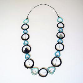 Tagua-Kette Francis blau/ Tagua Necklace Francis blue