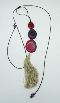 Tagua-Kette Amaru rot- weinrot/ Tagua Necklace Amaru red-wine red