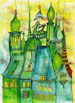 """Kunstkarte """"Stadt der grünen Türme"""" Artikelnummer: 1027"""