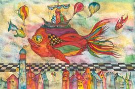 """Kunstkarte """"die Spiele der Fische."""" Artikelnummer: 1033"""