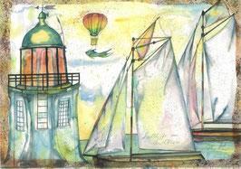 Segelschiffe am Leuchtturm