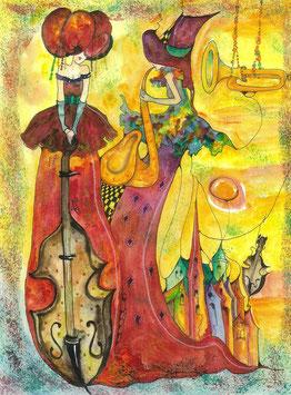 "Kunstkarte ""Musikalische Soirée"" Artikelnummer: 1013"