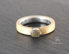 Holzring Ahorn | Silber und Rohdiamant