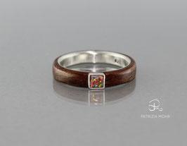 Ring Nussbaum Holz & Silber Opal (lab)