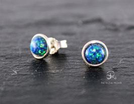 Ohrstecker aus 925 Silber mit Opalimitation dunkelblau