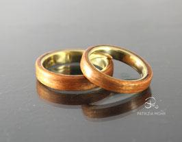 Holzringe Set Gold und Kirsch Holz