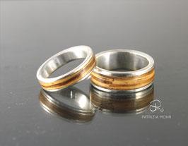 Holzringe Set  Eheringe Olive | Weißgold