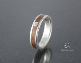 """Ring Silber & Zwetschgen Holz """"Stripe"""""""