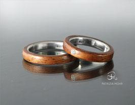 Holzringe Set Mahagoni und Silber