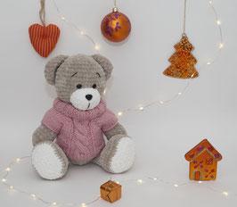 ♥ Petite ourse au pull rose ♥  ( disponible sur commande)