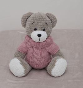 ♥ Petite ourse au pull rose ♥  (sur commande)