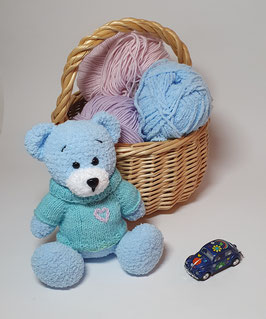 ♥ Teddy Bear bleu et son pull coeur ♥ (disponible sur commande)
